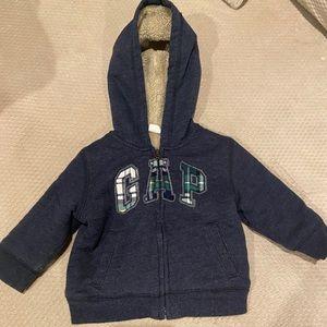 GAP Toddler Sherpa Lined Sweatshirt Hoodie 12-18